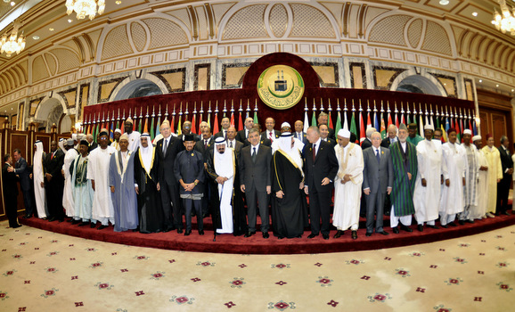 Leaders of Islamic countries pose during the official photo taking session of the OIC summit in Mecca