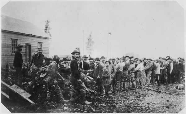 Metlakahtla_pioneers_clearing_the_forest_and_uprooting_stumps_to_prepare_the_site_of_the_Metlakahtla,_Alaska_settlement._-_NARA_-_298020